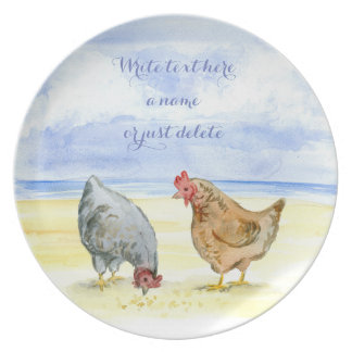 CHICKEN PLATE, LOVELY FARM HENS EATING PLATE
