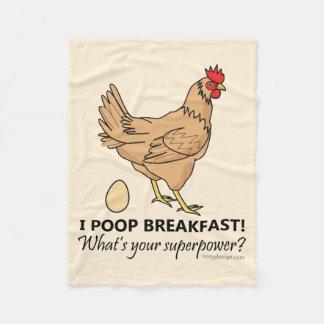 Chicken Poops Breakfast Funny Design Fleece Blanket