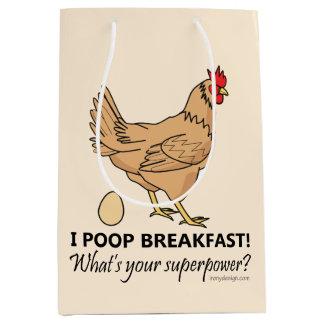 Chicken Poops Breakfast Funny Design Medium Gift Bag