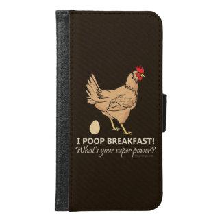 Chicken Poops Breakfast Funny Design Samsung Galaxy S6 Wallet Case