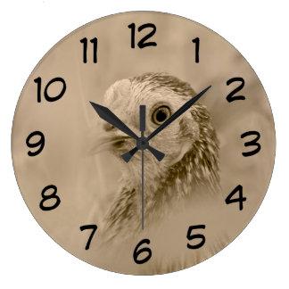 Chicken Portrait in Sepia Large Clock