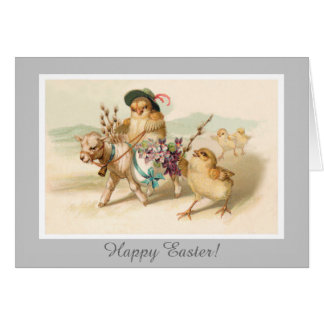 Chicken Riding Lamb - Cute Vintage Easter Gift Cards