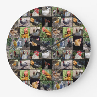 Chicken Rooster Photo Collage, Large Wall Clock. Large Clock