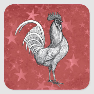 Chicken Rooster Star Pattern Stickers