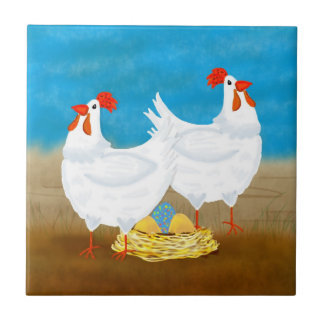 chicken tile, two hens and nest of eggs ceramic tile