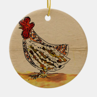 Chicken Vintage Ceramic Ornament