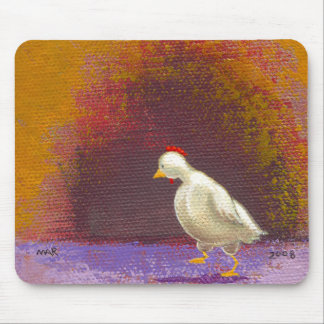 Chicken walking thinking fun unique colorful art mouse pad