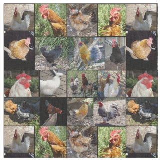 Chickens And Roosters  Collage, Cotton Material Fabric
