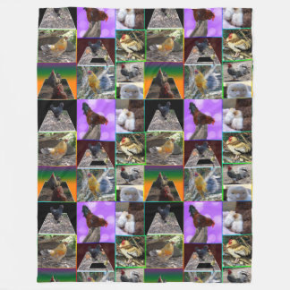 Chickens And Roosters Collage Lge Fleece Blanket