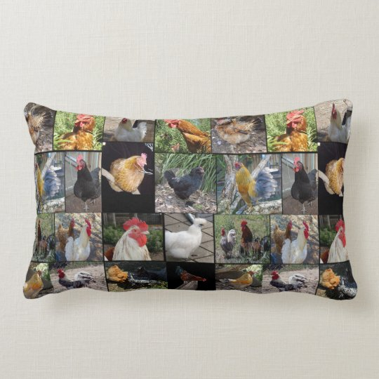 Chickens And Roosters , Collage, Lumbar Cushion. Lumbar Pillow