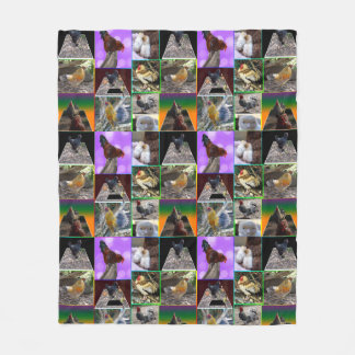 Chickens And Roosters Collage Med Fleece Blanket