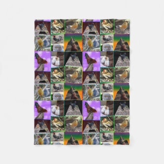 Chickens And Roosters Collage Small Fleece Blanket