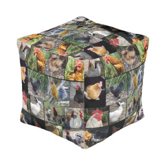 Chickens And Roosters In A Photo Collage, Pouf
