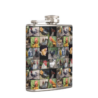 Chickens And Roosters Photo Collage, Hip Flask