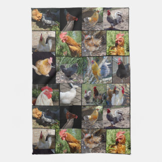 Chickens And Roosters Photo Collage, Kitchen Towel