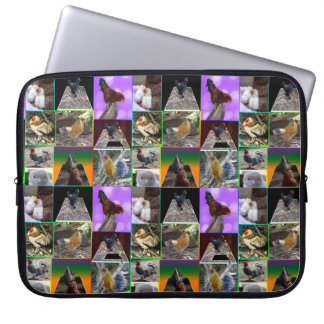 Chickens And Roosters Photo Collage, Laptop Sleeve