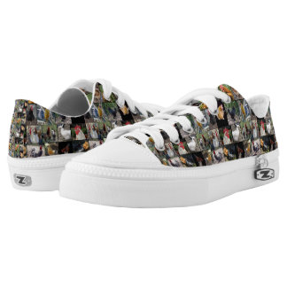 Chickens And Roosters Photo Collage, Low-Top Sneakers