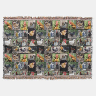 Chickens And Roosters Photo Collage, Throw Blanket