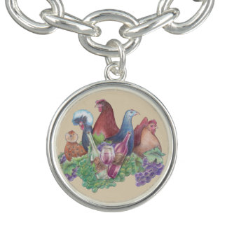 Chickens and Wine Charm Bracelet