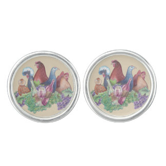 Chickens and Wine Cuff Links