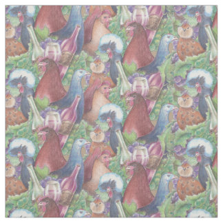 Chickens and Wine Fabric