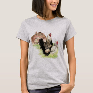 Chickens & Barn Farm Scene watercolor art T-Shirt