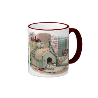 Chickens, Cat and Barking Dog Ringer Coffee Mug