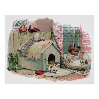 Chickens, Cat and Barking Dog Poster