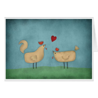 Chickens in Love Greeting Card