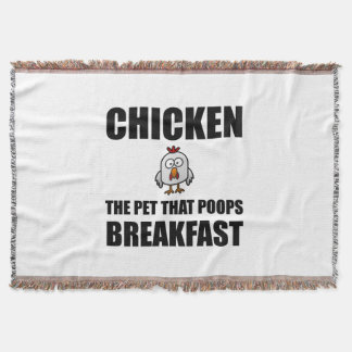 Chickens Poop Breakfast Throw Blanket