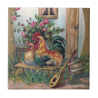 Chickens With Lute and Egg House Tile