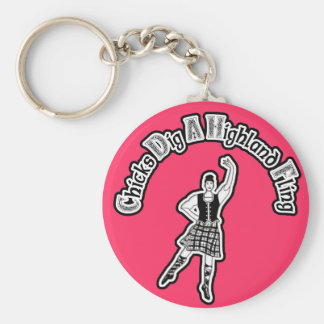 Chicks Dig A Highland Fling Basic Round Button Keychain