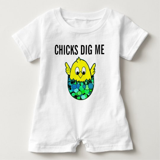 Chicks Dig Me Easter Spring Romper Egg Chick
