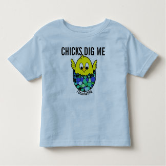 Chicks Dig Me Easter Spring Shirt Egg Blue boys