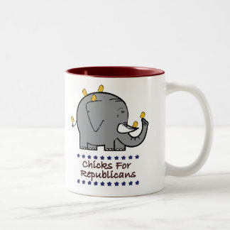 chicks for republicans Two-Tone coffee mug