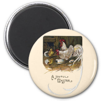 Chicks Hatch in Hen House Vintage Easter 2 Inch Round Magnet