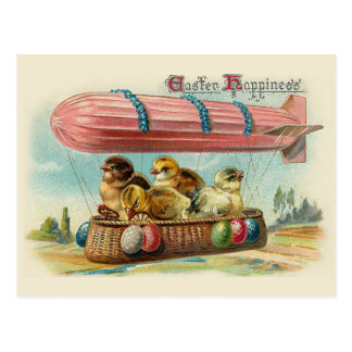 Chicks in Pink Blimp Vintage Easter Postcard