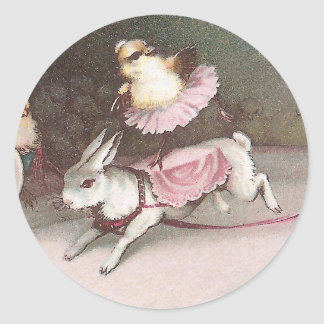 Chicks Rides Resinback Rabbit in Easter Circus Act Classic Round Sticker