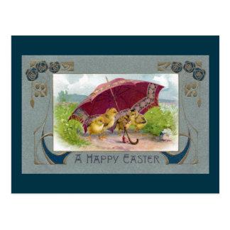 Chicks Under Umbrella Art Nouveau Easter Postcard