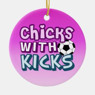 Chicks with Kicks Ceramic Ornament