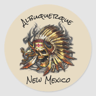 Chief Bones Albuquerque New Mexico Classic Round Sticker