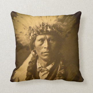 Chief Garfield Vintage Native American Curtis Throw Pillow