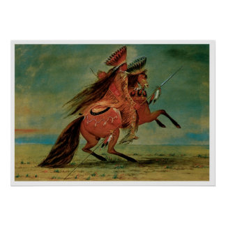 Chief Indian Warrior Vintage Art Print Poster