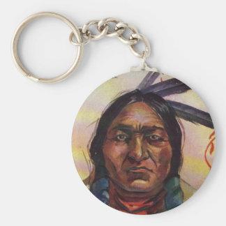 Chief Sitting Bull Basic Round Button Keychain
