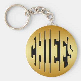 CHIEFS - GOLD BASIC ROUND BUTTON KEYCHAIN