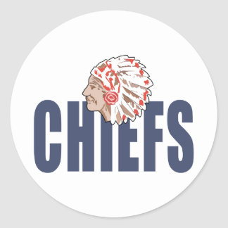 CHIEFS MASCOT ROUND STICKERS
