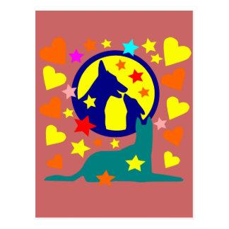 chien au clair de lune étoilée postcard