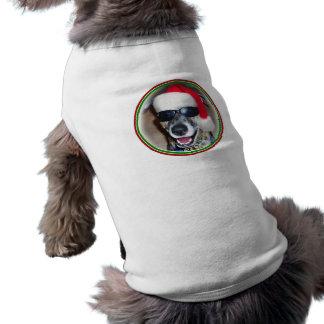 Chien de Noël avec le chapeau de Père Noël Tee-shirt Pour Animal Domestique