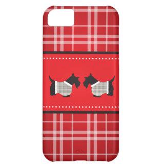 Chien de Scotty avec l'arrière - plan de plaid Coque iPhone 5C