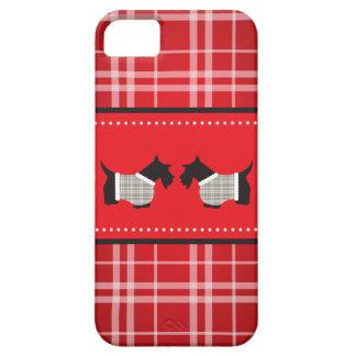 Chien de Scotty avec l'arrière - plan de plaid Étuis iPhone 5